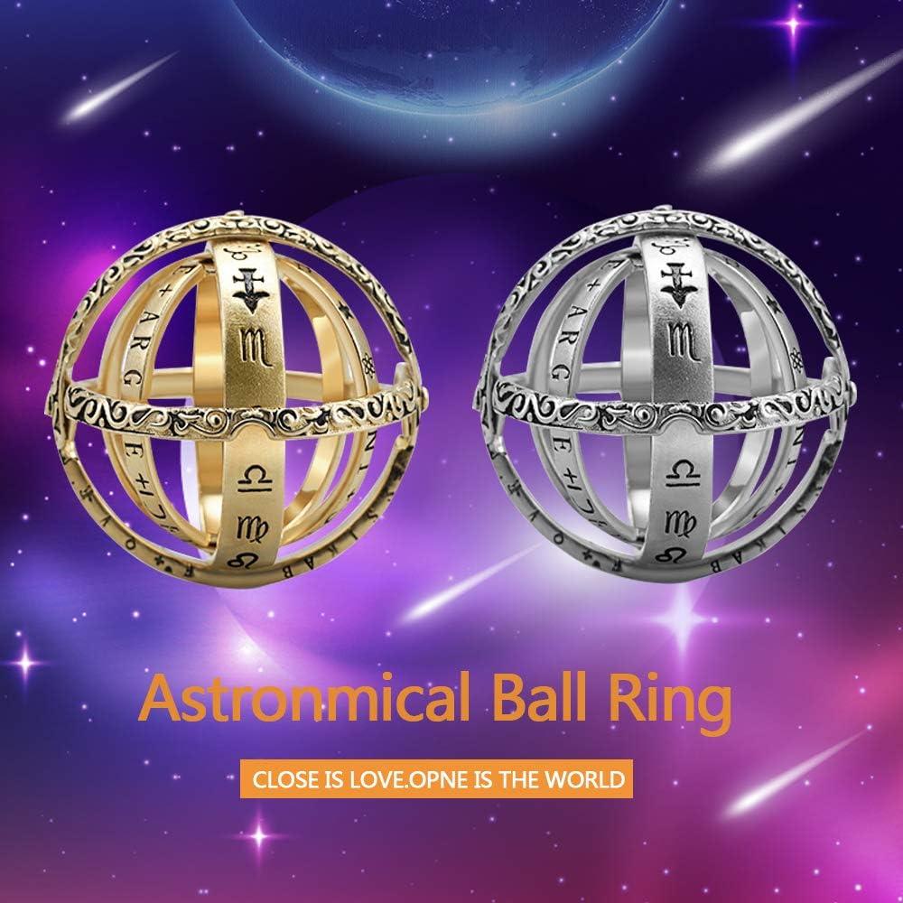 CHUANGE 2 en 1 Globe Anneau D/épliable Sph/ère Astronomique Vintage Anneau Ouvertable Bague Cosmic Balle Bague Bague Couple Amoureux Bague Bijoux Cadeaux