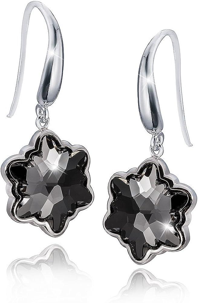 MATERIA–Pendientes de cristal de hielo plata 925con Swarovski Crystals Negro # swo de 16