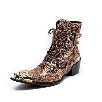 Hombres Zapatos De Cuero Botines Vaquero Botas con Cordones Clásico Oro Vespertino Fiesta Vestido,Gold