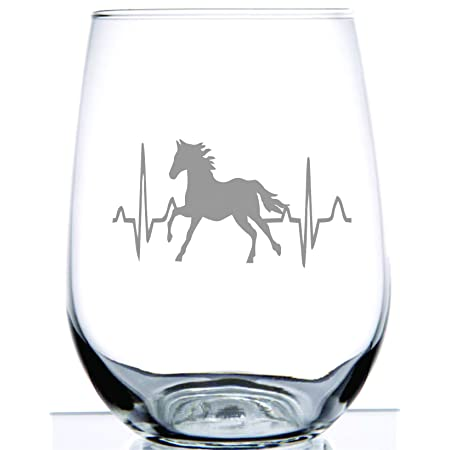 Horse Heartbeat Stemless Wine Glass