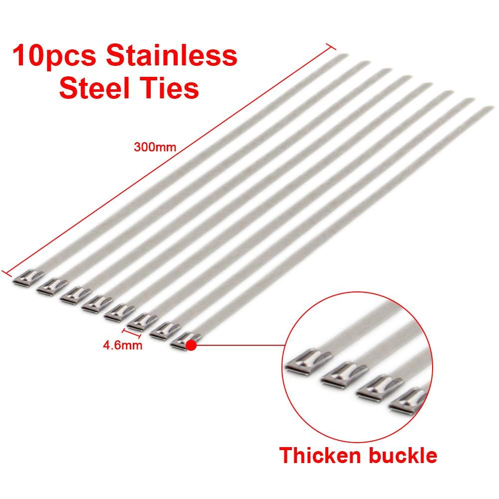 blu cravatte 5/cm * 15/M in fibra di vetro auto da moto tubo di scarico calore scudo Sleeve BANDAGE Wrap rotolo con pezzi in acciaio INOX Scarico header Heat Wrap tape