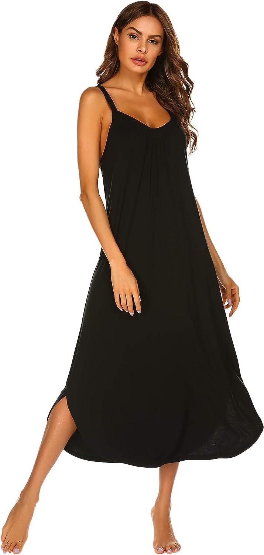 Ekouaer Long Nightgown Sexy Full Slips Sleepwear Summer Racerback Sleepshirt Loose Chemise Lingerie for Women S-XXL