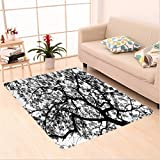 Nalahome Custom carpet artment Decor Forest Tree Branches Modern Decor Spooky Horror Movie Themed Print Black and White area rugs for Living Dining Room Bedroom Hallway Office Carpet (6' X 9')