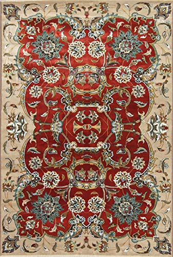 Rug Source New Oushak Floral Machine Made 5x7 Red Silk/Polyester/Juse Oriental Area Rug (7' 0