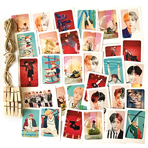 32Pcs BTS Love Yourself 結 'Answer' Postcards New Album Lomo Cards Set with 10 Photo Clips 4 Meter String 1 3D ()