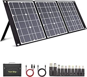 TISHI HERY 50W Portable Solar Panel Foldable with 3 Outputs DC/USB/QC3.0 Compatible with Most Portable Solar Generators Power Stations/Phones/Laptops/Tablet for Travel/Camping/RV/Hiking