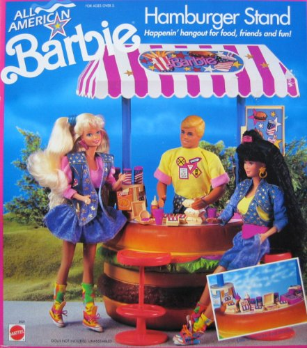 Hamburger Stand (All American BARBIE HAMBURGER STAND Playset w Tomato STOOLS, Rotating SNACK CAROUSEL & More! (1990))