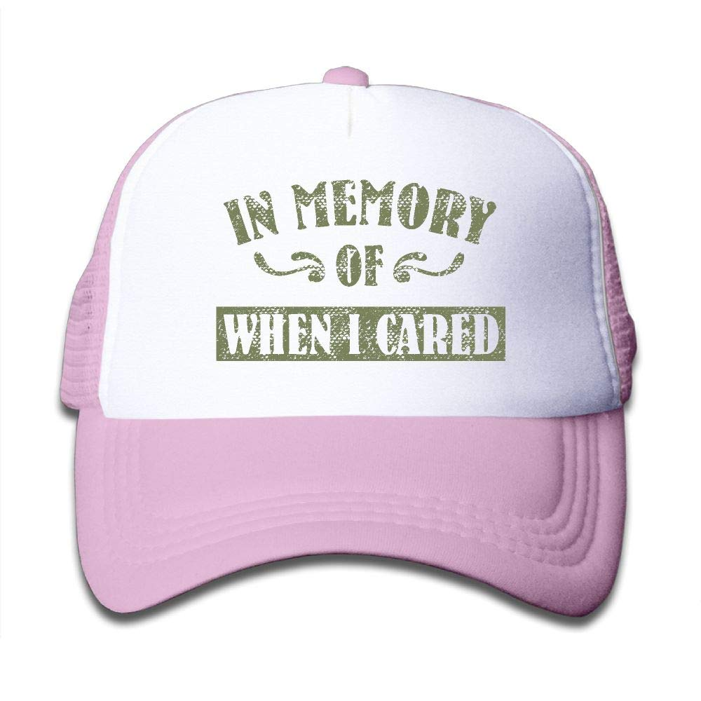 Kid's Boys Girls in Memory of When I Cared Youth Mesh Baseball Cap Summer Adjustable Trucker Hat