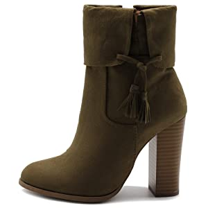 Ollio Women's Shoe Faux Suede Back Zip Up Stacked High Heel Tassel Ankle Boots (8 B(M) US, Khaki)