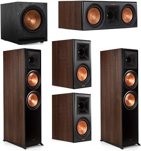 Klipsch 5.1 Walnut System 2 RP-8000F Floorstanding Speakers, 1 Klipsch RP-600C Center Speaker, 2 Klipsch RP-500M Surround Speakers, 1 Klipsch SPL-120 Subwoofer
