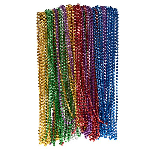 96-Piece Mardi Gras Bulk Bead Set Outfit Costume Wear, Games, Decoration, Party Favors - Red, Green, Yellow, Blue, Purple More