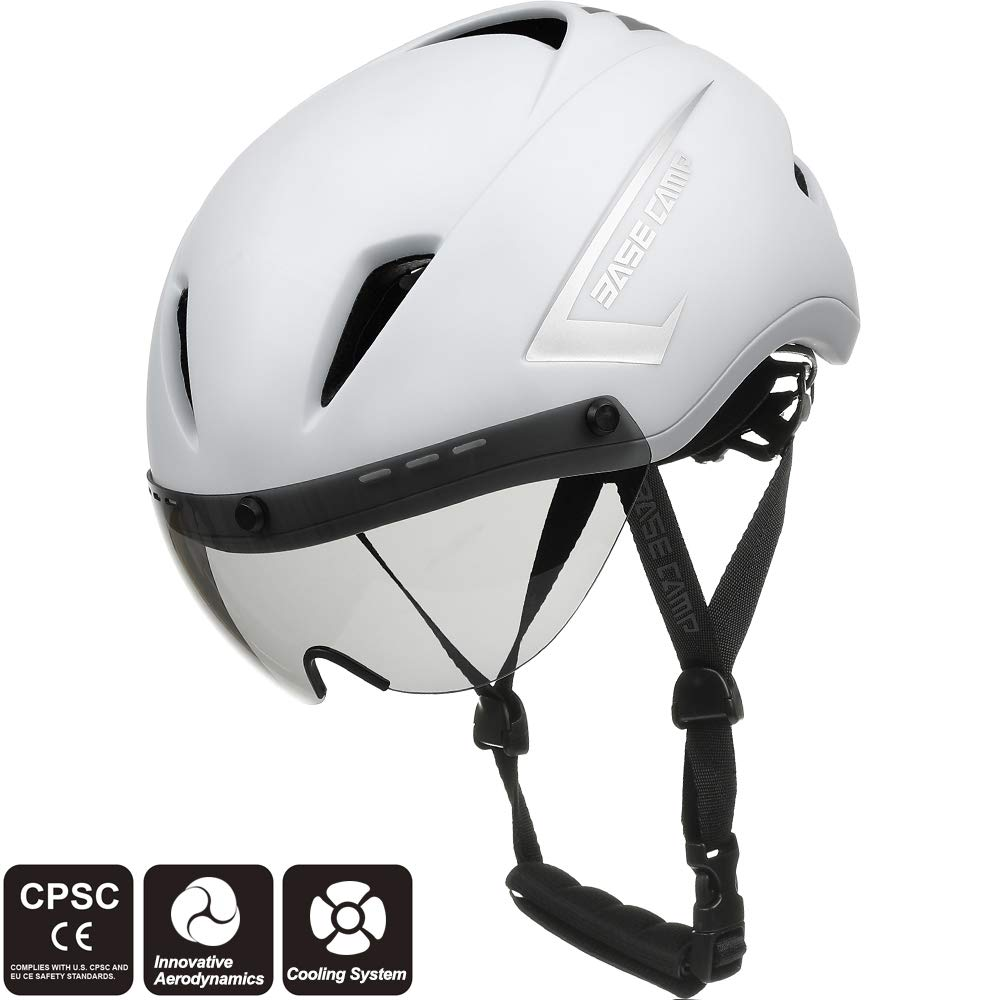 Base Camp AIRCROSS Road Bike Helmet with Detachable Shield Visor - Adjustable Size 54-58 cm BC005