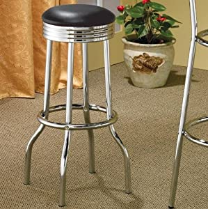 Coaster Retro Nostalgic Style Bar Stools, 29 Inches Height, Red, Set Of 2