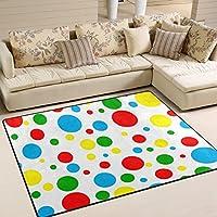 DEYYA Non-slip Area Rugs Home Decor, Stylish Red Polka Dot Floor Mat Living Room Bedroom Carpets Doormats 80 x 58 inches