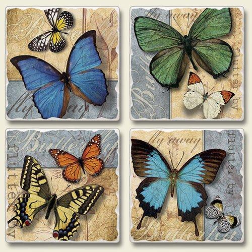 Highland Graphics - Butterflies Flutter By 4 Pack Coaster Set