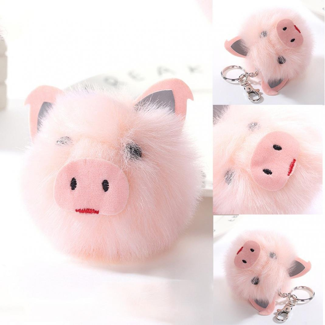 holrea Lovely Pig HeadペンダントキーチェーンフェイクファーCartoonキーチェーンリングふわふわボールレディースバッグOrnamentsペンダントギフト  ピンク B07G76TFCN