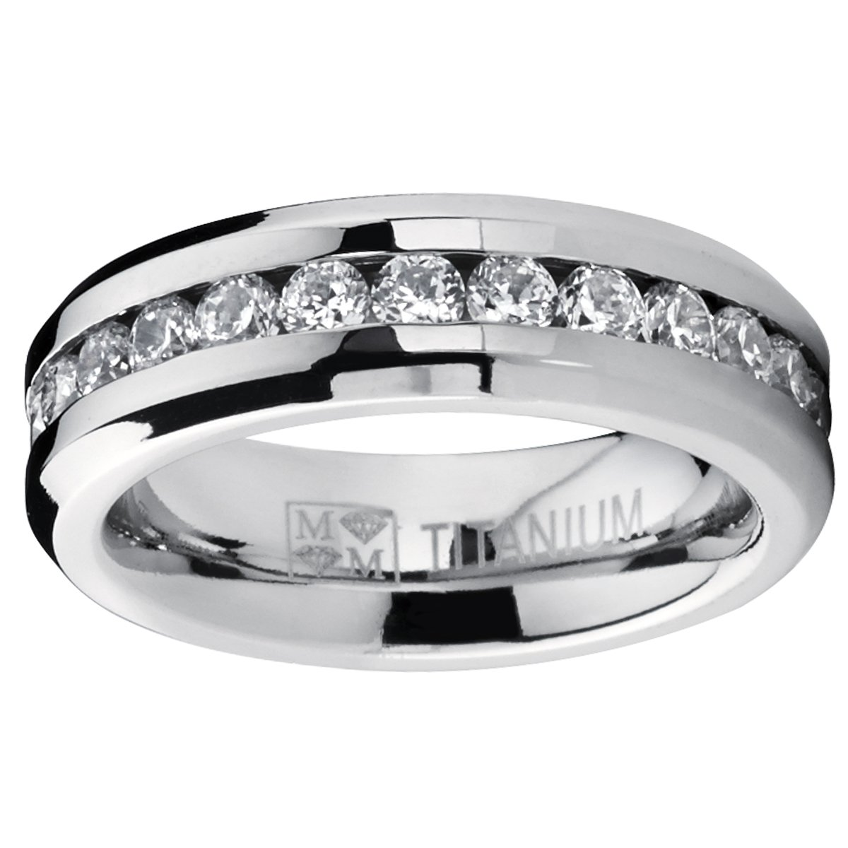 6MM Ladies Eternity Titanium Ring Cubic Zirconia Wedding Band with CZ size 7.5 by Metal Masters Co. (Image #1)