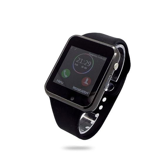 Reloj de pulsera hombre klanev SmartWatch táctil Android correa goma Negro Black