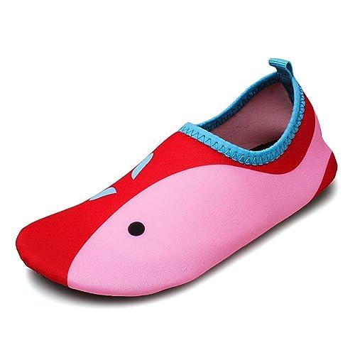 Saguaro® Niños Zapatillas para Actividades acuáticas Slip On Schwimmschuhe Verano Agua Guantes Playa Antideslizantes para jóvenes, Color Rojo, ...