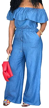 d17e35ffc04 ARTFFEL Women Loose Fit Plus Size Washed Denim Jumpsuit Romper Ruffle Off  The Shoulder Jumpsuit Romper