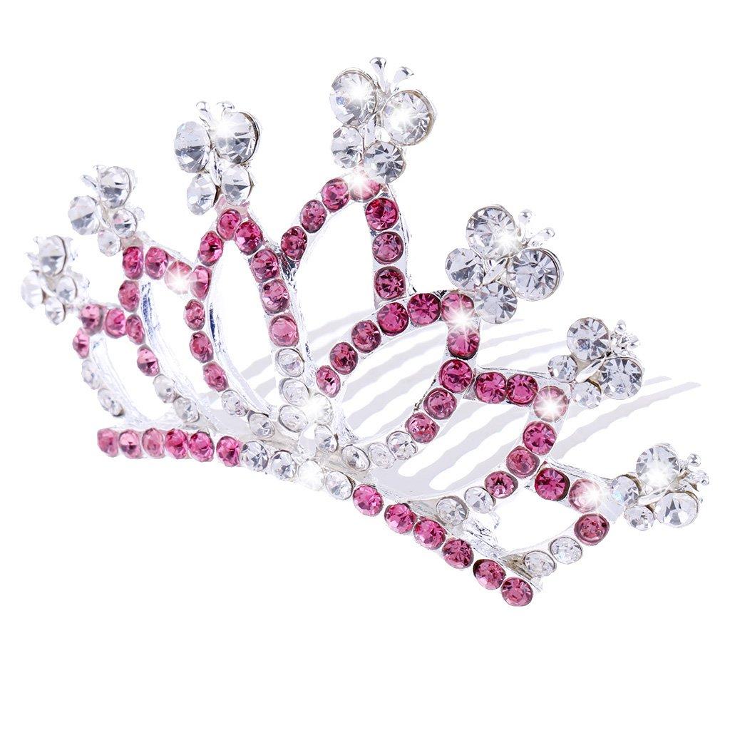 Homyl Sparkling Crystal Rhinestone Small Crown Tiara Comb Wedding Birthday Hair Accessories