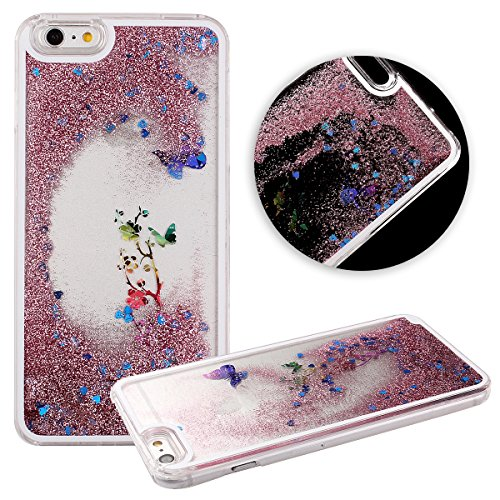 DAMINFE Hard Back Case for iPhone 6 Plus,Transparent Crystal Clear Back Covers for iPhone 6 Plus,Liquid Case for Iphone 6 Plus,Flowing Liquid Glitter Quicksand and Love Heart Flower Butterfly Case for Apple iPhone 6 Plus 5.5