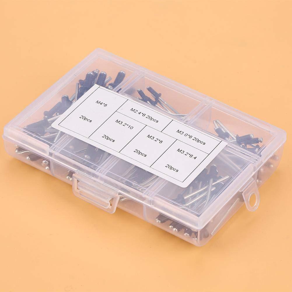 M3.2 Remache ciego de aluminio M3.0 M4 Ciegos de aluminio remaches sujetadores surtido kit con caja 120 piezas//set M2.4