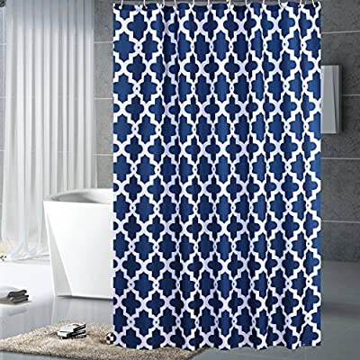 "Luunaa Geometric Patterned Shower Curtain Waterproof  , 72 x 72 Inch with 12 Hooks (Blue Geometric 72"" x 80"" ) - The fabric does not fade, perfectly weighted, very durable and easy care, use wet cloth and mild detergent to wipe off the dirt or machine wash directly. 72"" x 72"" (180 x 180 cm)/ 72"" W x 80"" L( 180W x 200L cm) for multiple choices; 12 Rust Proof Metal Grommets; Package include 1 x shower curtain and 12 x plastic curtain hooks We offer you high quality products with so favorable price and best service . Items can be returned within 30 days of receipt of shipment if you are not satisfied for any rea - shower-curtains, bathroom-linens, bathroom - 61CIK 8119L. SS400  -"