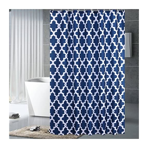 "Luunaa Geometric Patterned Shower Curtain Waterproof  , 72 x 72 Inch with 12 Hooks (Blue Geometric 72"" x 80"" ) - The fabric does not fade, perfectly weighted, very durable and easy care, use wet cloth and mild detergent to wipe off the dirt or machine wash directly. 72"" x 72"" (180 x 180 cm)/ 72"" W x 80"" L( 180W x 200L cm) for multiple choices; 12 Rust Proof Metal Grommets; Package include 1 x shower curtain and 12 x plastic curtain hooks We offer you high quality products with so favorable price and best service . Items can be returned within 30 days of receipt of shipment if you are not satisfied for any rea - shower-curtains, bathroom-linens, bathroom - 61CIK 8119L. SS570  -"