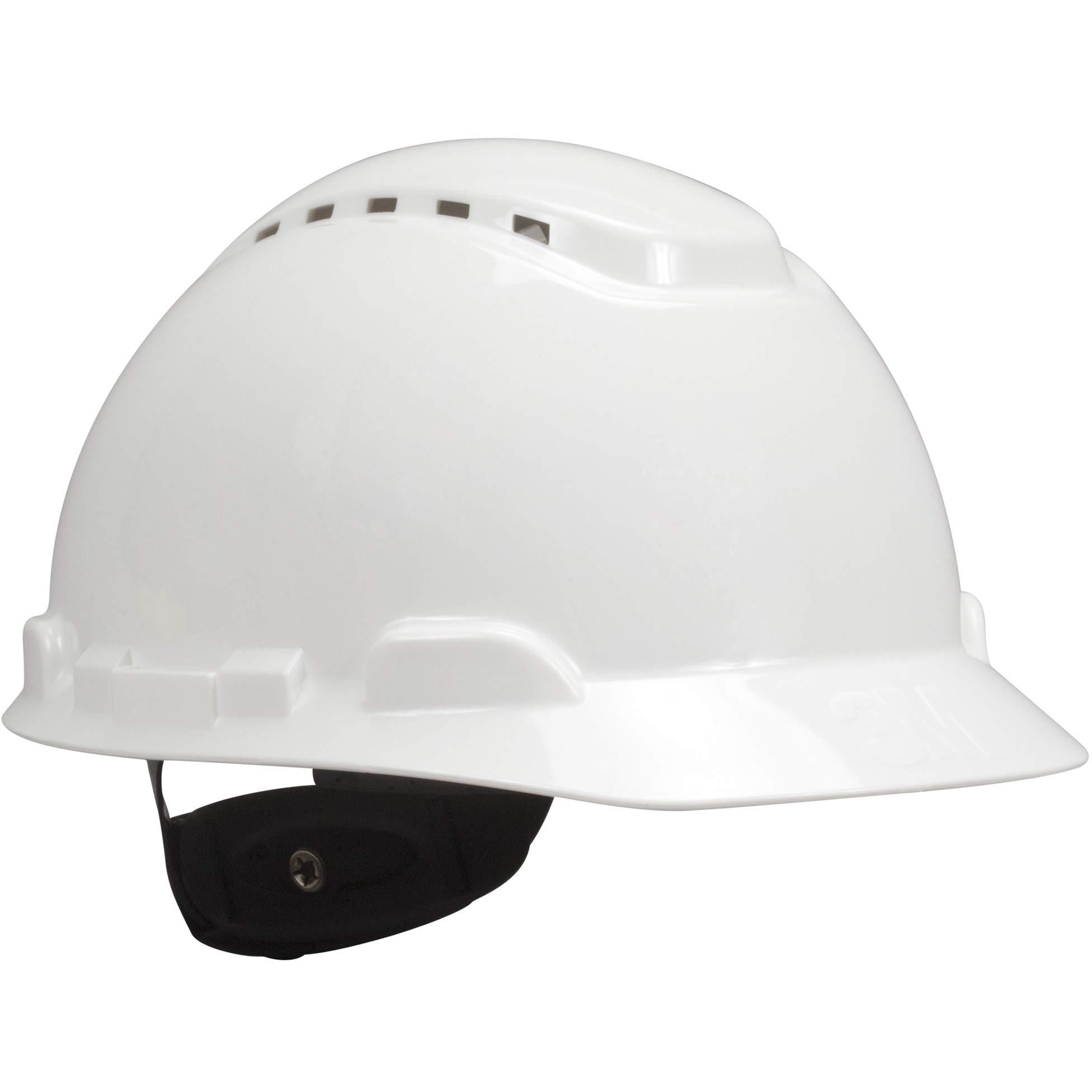 3M Hard Hat, White, Lightweight, Vented, UV Indicator, Adjustable 4-Point Ratchet, H-701V-UV