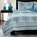 Home Essence Queen Quilt Set 3 Piece - Taya Blue Rustic Bedding Set Includes 1 Queen Size Coverlet, 2 Shams Sets, Printed Medallions Pattern