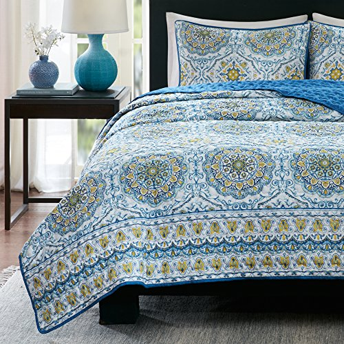 King Quilt set - Taya 3 Piece Blue Rustic King Size Quilts Bedding Set Includes 1 King Size Quilt, 2 Shams Set, Printed Medallions Pattern by Home Essence (King Quilt Clearance)