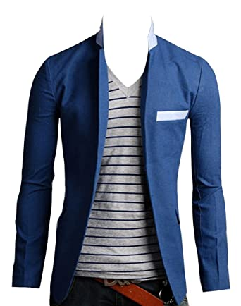 Men's Stand Collar Blazer Slim Fit Casual One Button Jacket