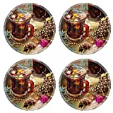 Liili Round Coasters Non-Slip Natural Rubber Desk Pads cup of hot mulled wine for Christmas and New Year IMAGE ID 34504406