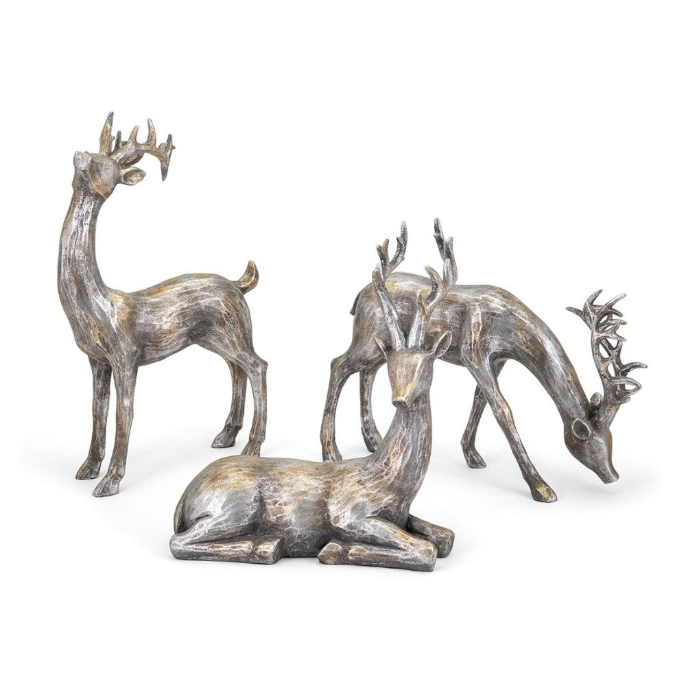 Gold and Silver Christmas Reindeer 3-Piece Set | ChristmasTablescapeDecor.com
