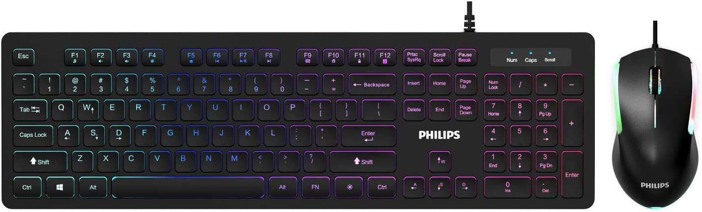 PHILIPS Wired Keyboard and Mouse Combo | LED Keyboard + Ambidextrous RGB Optical Mouse | Quiet Chiclet Backlit Keyboard, N-Key Rollover | Spill-Resistant for Home or Office (SPT8264)