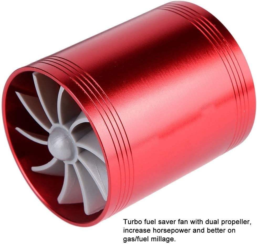 KSTE Car Air Intake Turbonator Dual Fan Turbine Super Charger Gas Fuel Saver Turbo Red