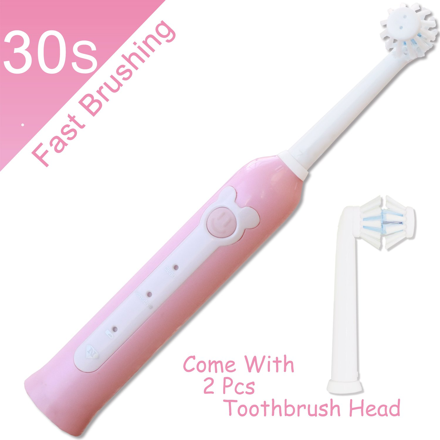 Electric toothbrush kids,NeWisdom 360° rotating 30s FAST brushing Rechargeable WIRELESS CHARGING Electric Toothbrush for Children,4 hours charging,30 days working (Wireless Charge Pink 9-14) by NeWisdom (Image #2)