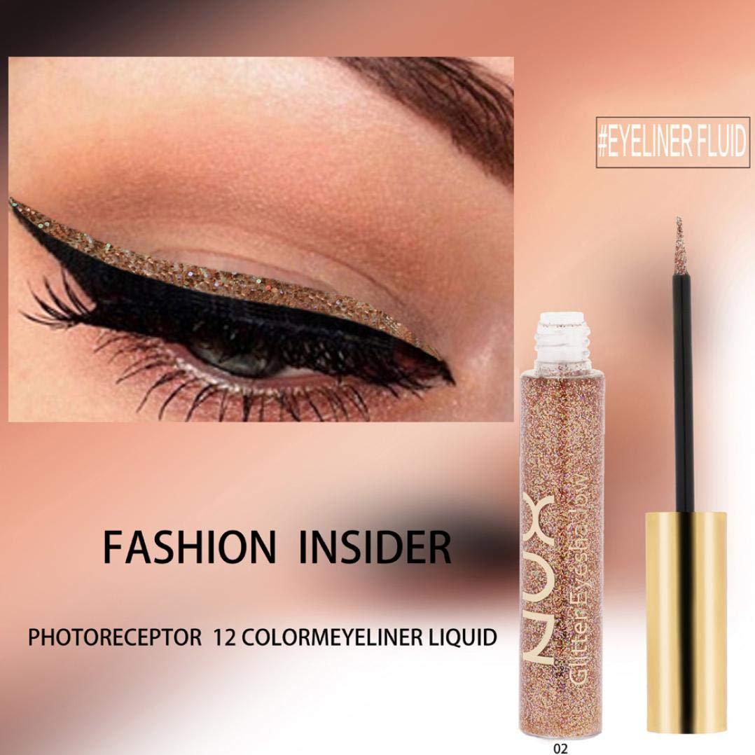 Amazon Com Hp95 Glitter Metallic Eyeshadow Waterproof Shiny Smokey Eyeshadow Cats Eyes Liquid Eyeliner Beauty Shimmer Pigmented Eyebrown Face Lips Art Makeup 02 Beauty