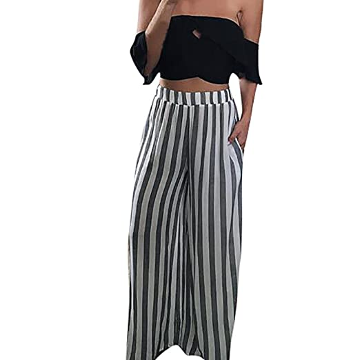9842ae4b1bcf48 Bravetoshop Clearance,Women Casual Black White Stripes Wide Leg Pants  Elastic Waist Palazzo Trousers (