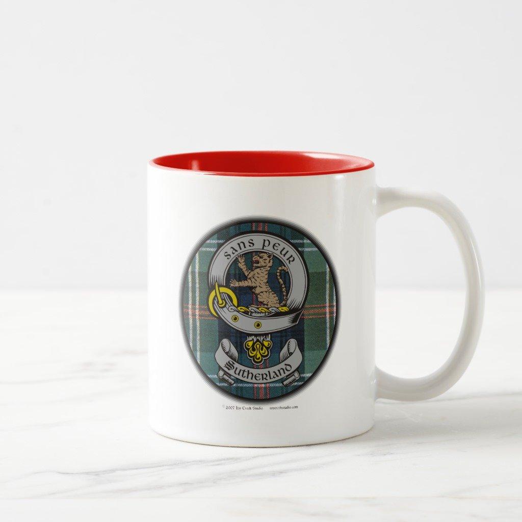 Zazzleサザランド古いバッジ&タータン曇りガラスビールマグカップ 11 oz, Two-Tone Mug レッド 1027e30e-b854-f541-efa4-ccab3e27763d B077BZ9SVG 11 oz, Two-Tone Mug|レッド レッド 11 oz, Two-Tone Mug