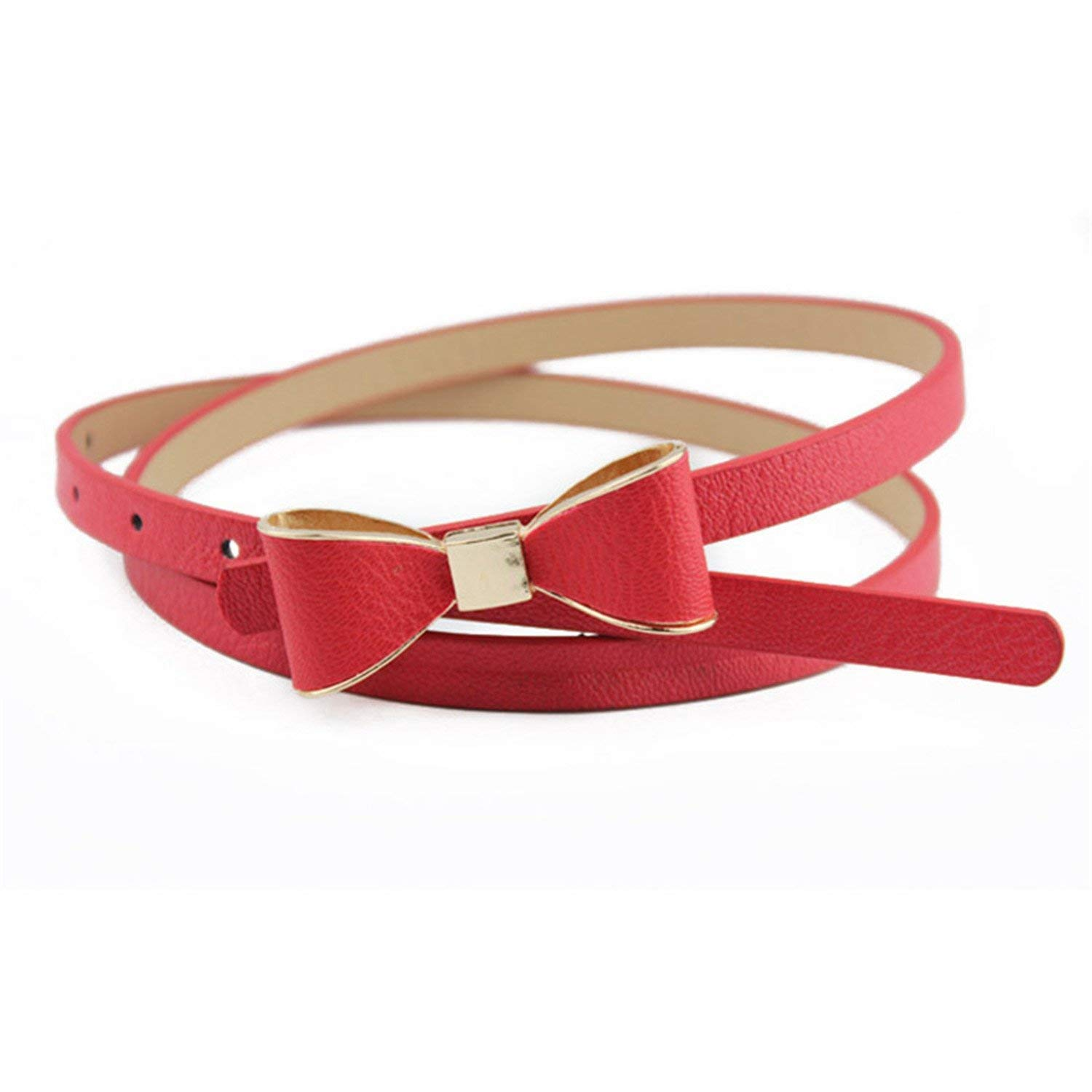 LeNG Fashion Candy Color Belt Bow Belt For Women Female Automatic Buckle Waist Strap,OneSize,Red