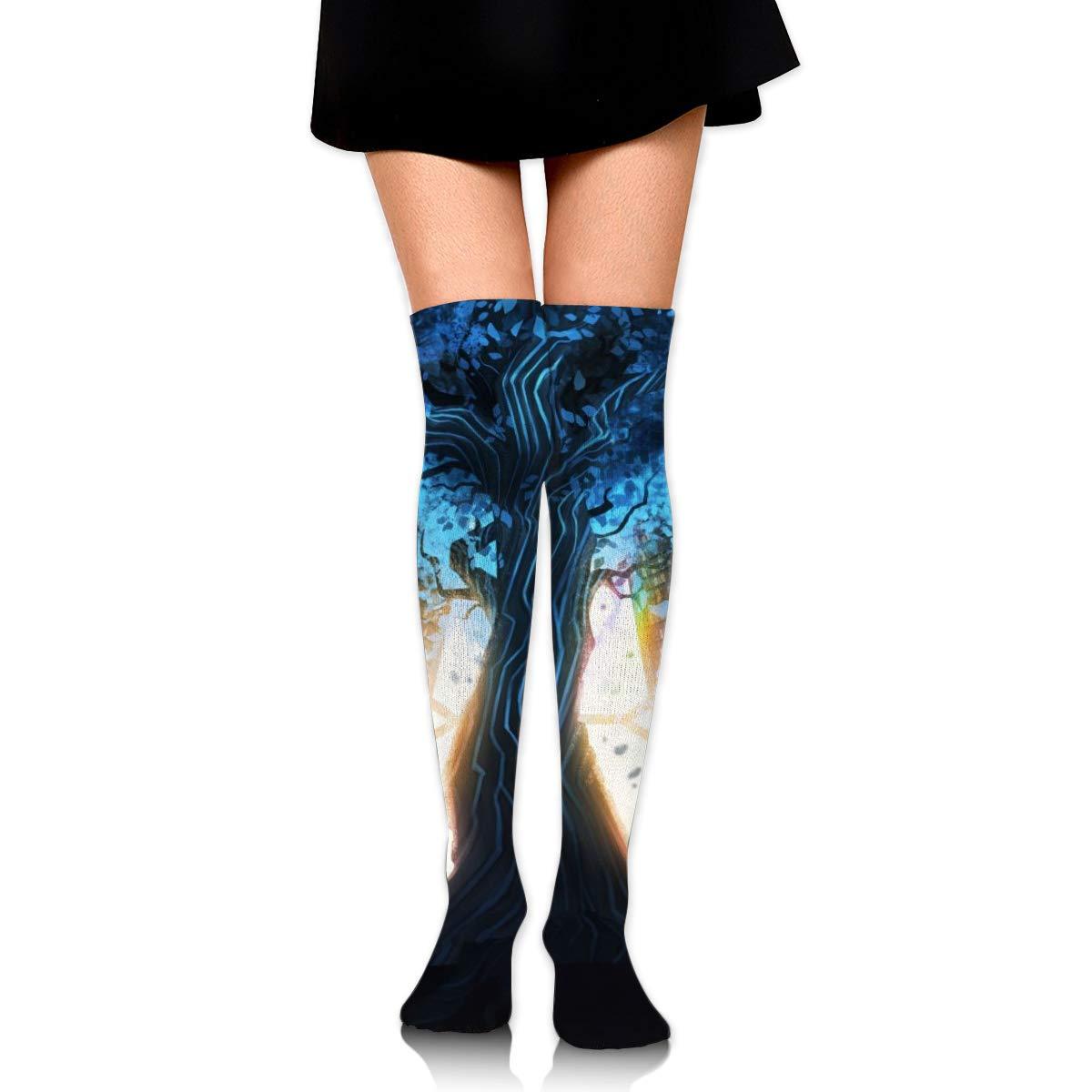 Kjaoi Girl Skirt Socks Uniform Library Bookshelf Tree Women Tube Socks Compression Socks