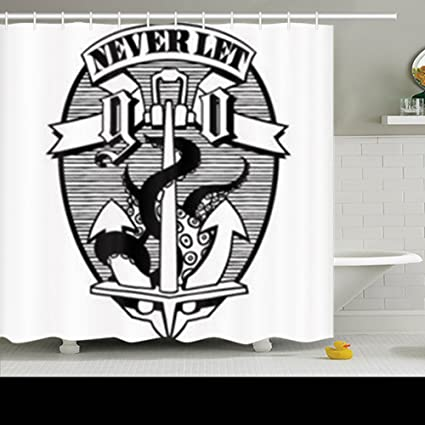 Shower Curtains Anchor Octopus Tentacles Banner Never Let Objects Cthulhu Signs Symbols Kraken Ship Polyester Fabric