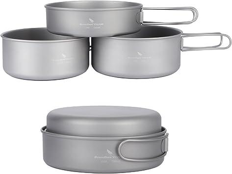 Boundless Voyage Conjunto de utensilios de cocina de titanio ligero de 3 piezas para acampar al aire libre de camping, senderismo, picnic