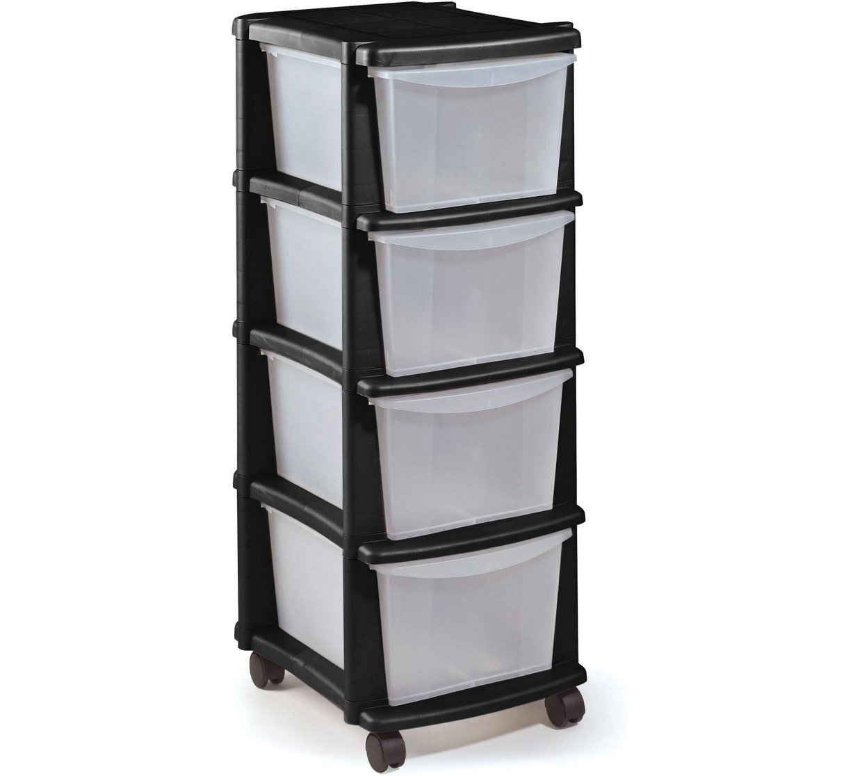 ChoicefullBargain 4 Drawer Plastic Tower HOME Keter Storage Unit - Black.