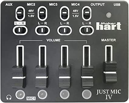 Mini Preamp for Providing Phantom Power to Condenser and Electret Microphones 1//8 Input 1//8 Output XLR Maker Hart Just Mic Power