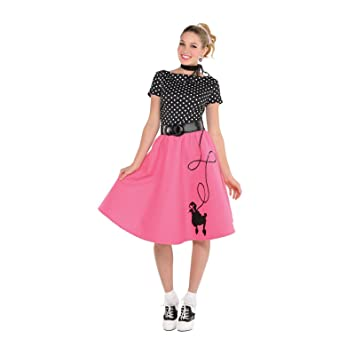 622a7d25f214 Ladies 50s Rock N Roll Retro Polka Dot Pink Poodle Skirt Fancy Dress Costume  Includes Scarf and Belt Small 8-10: Amazon.co.uk: Toys & Games