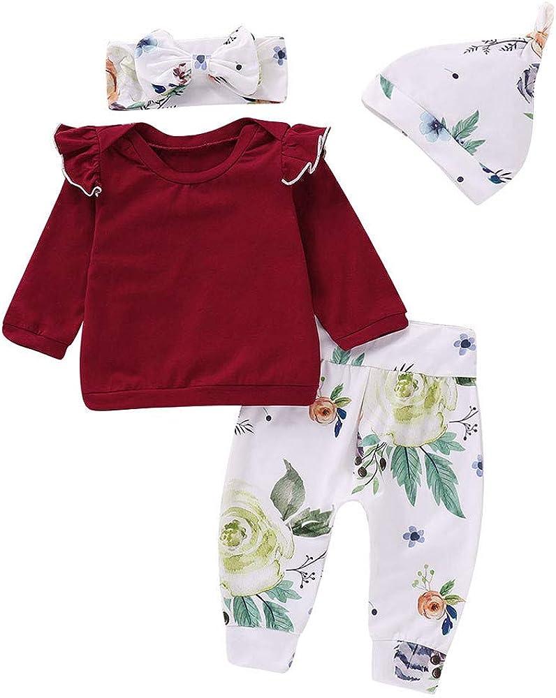 Geetobby Newborn Baby Girls Tops Romper Floral Pants Cap Headband Outfits Set