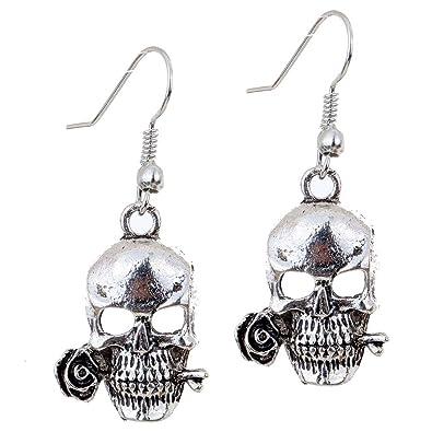 Amazon.com: YAZILIND Punk Cool Hollow Skull Rose Design Ear Wire ...
